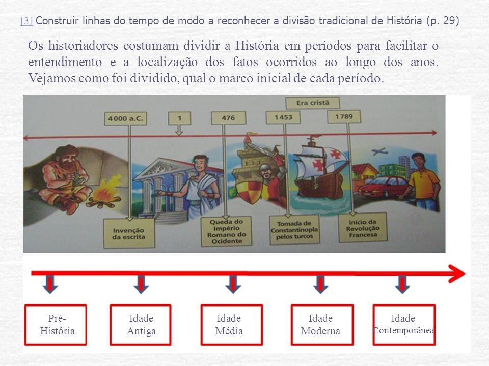 [3] Construir linhas do tempo de modo a reconhecer a divisão tradicional de História (p. 29)